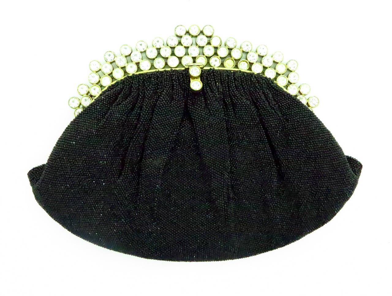 Black 1950s Josef black caviar beaded rhinestone jewel frame evening bag handbag For Sale