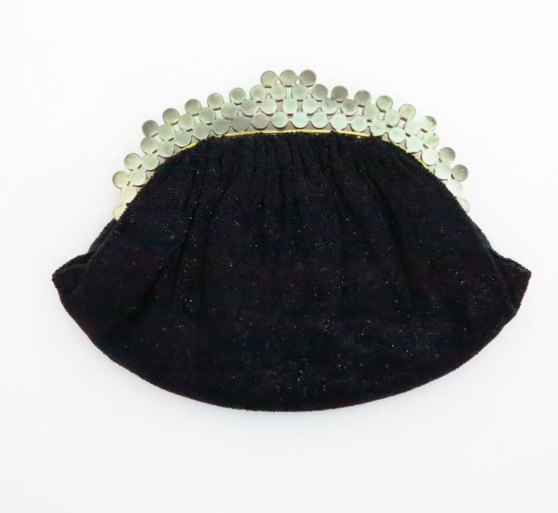 1950s Josef black caviar beaded rhinestone jewel frame evening bag handbag 4