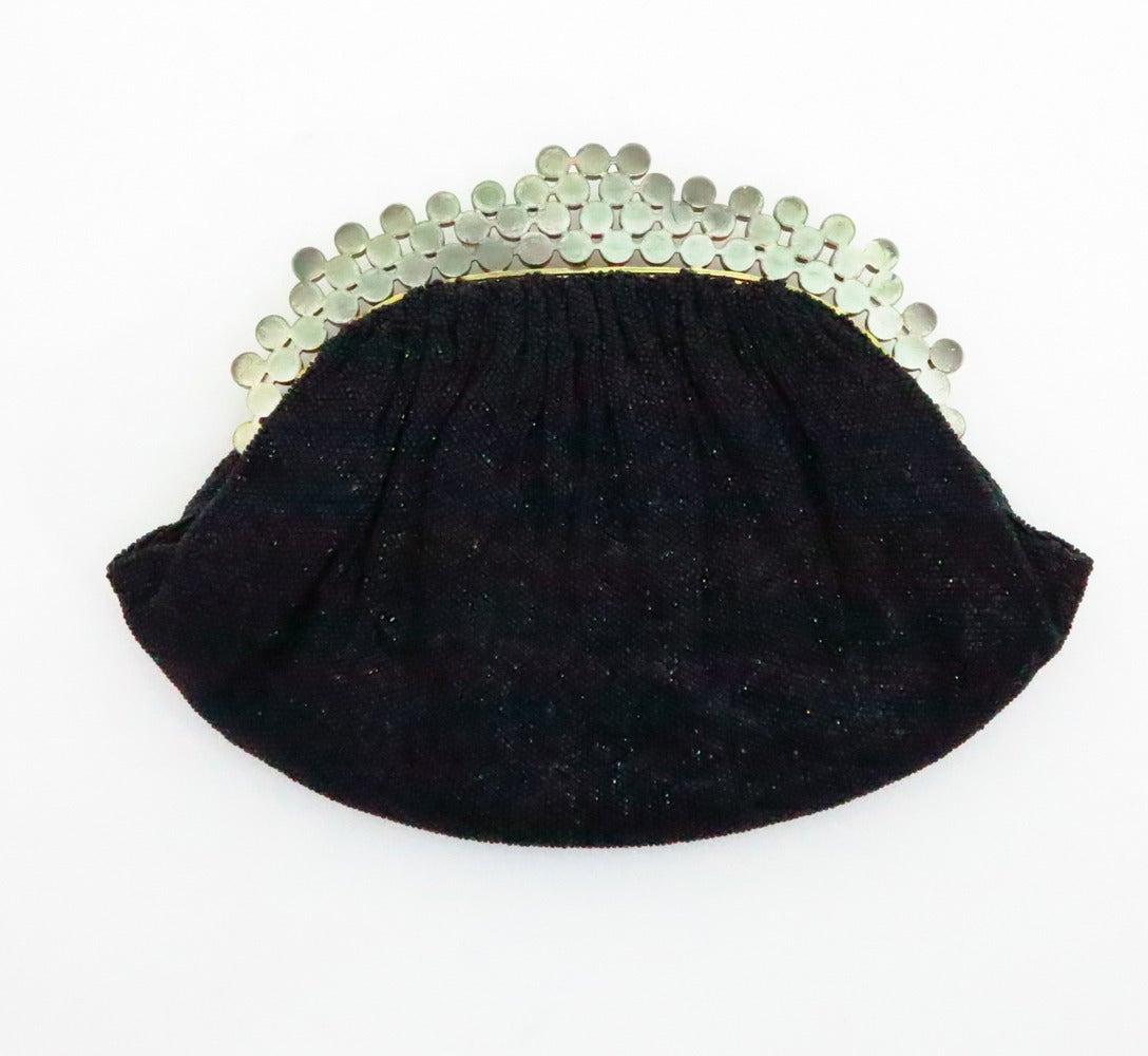 1950s Josef black caviar beaded rhinestone jewel frame evening bag handbag In Excellent Condition For Sale In West Palm Beach, FL