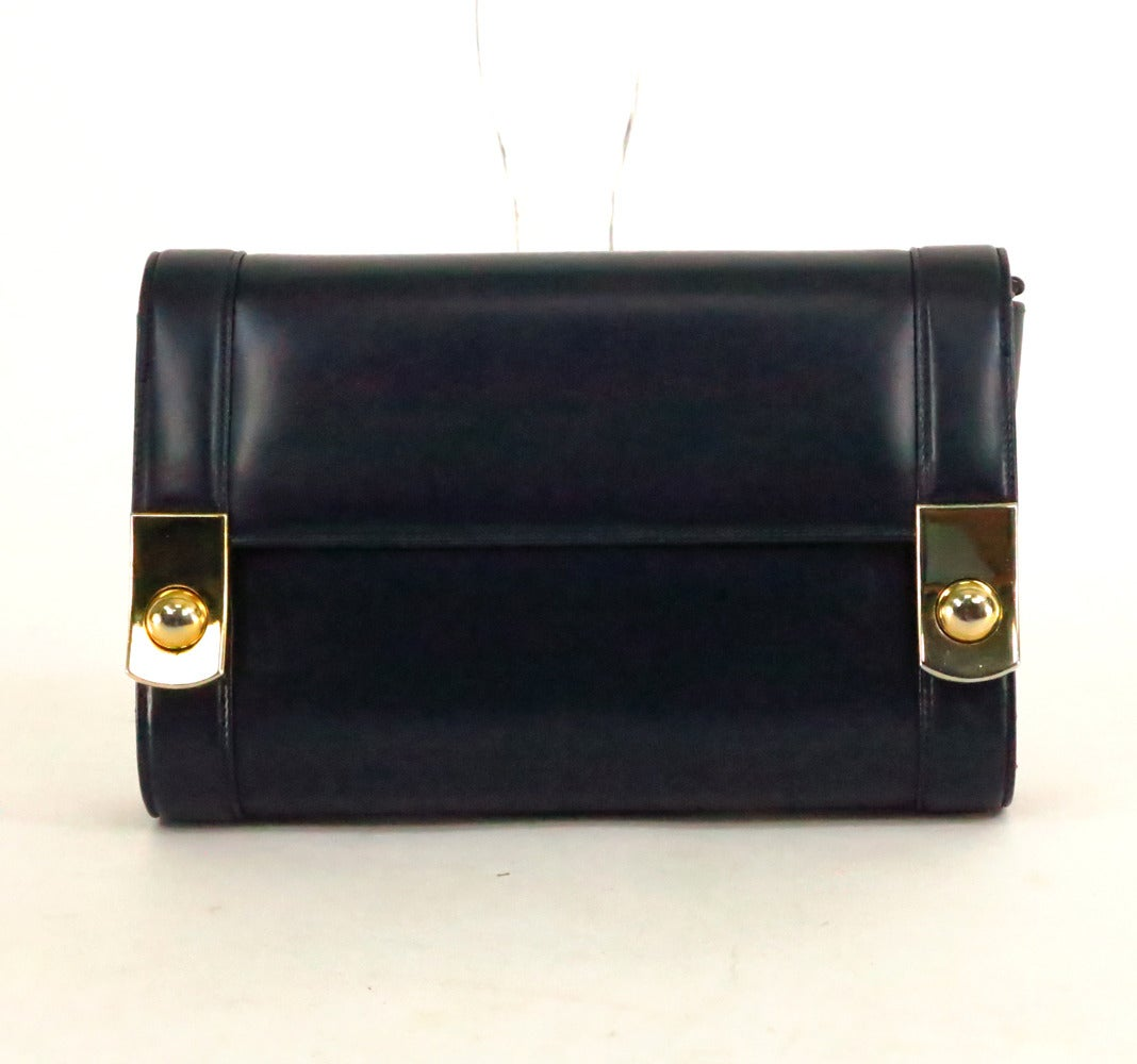 Chic Gucci Navy Blue Box Calf Clutch Bag Can Be Carried As A Shoulder