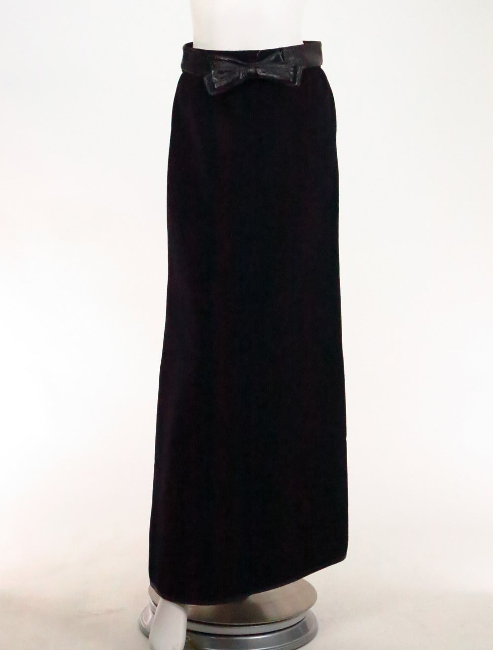 1970s Correges Couture Future black wool & vinyl maxi skirt 2