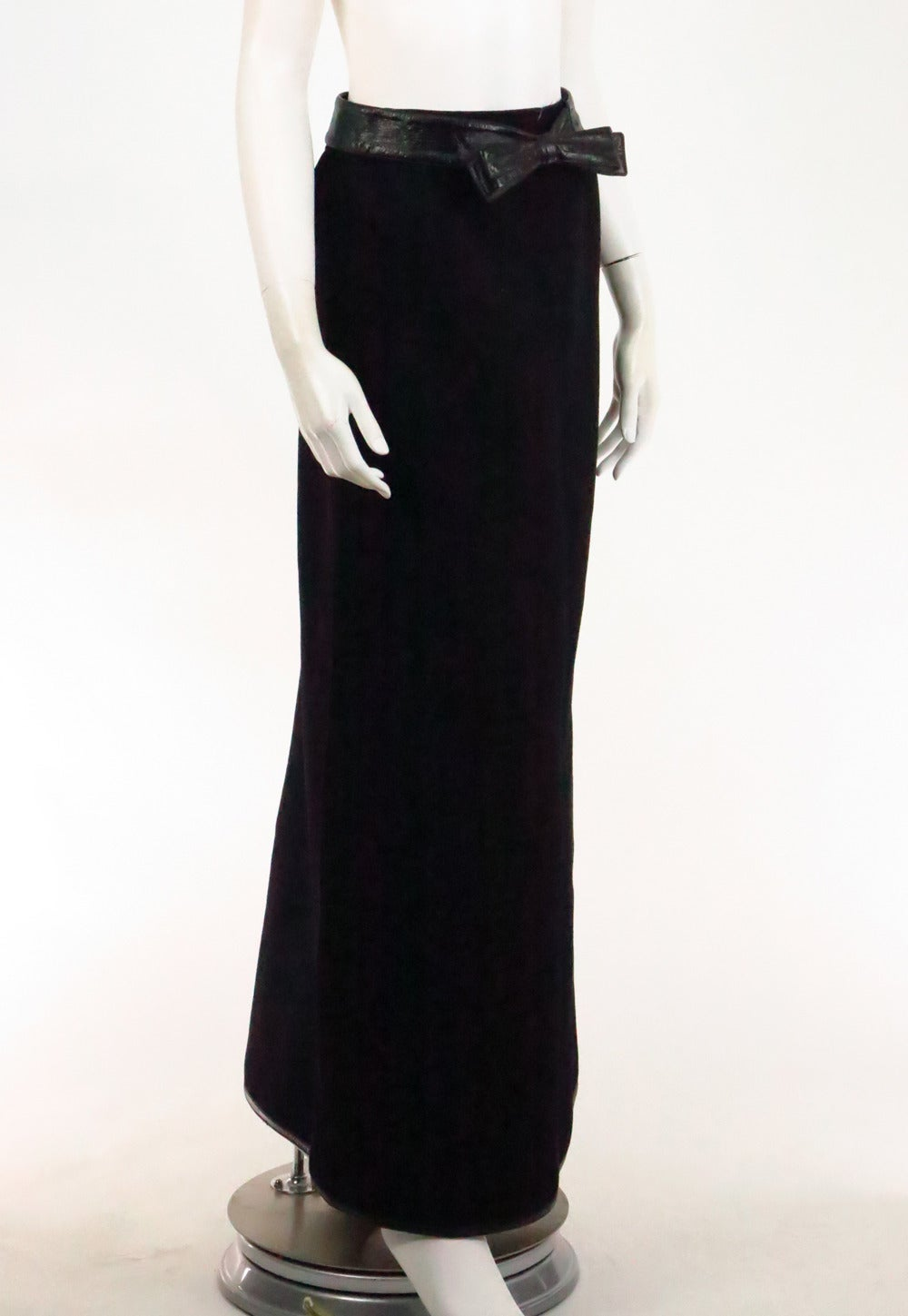 1970s Correges Couture Future black wool & vinyl maxi skirt 3