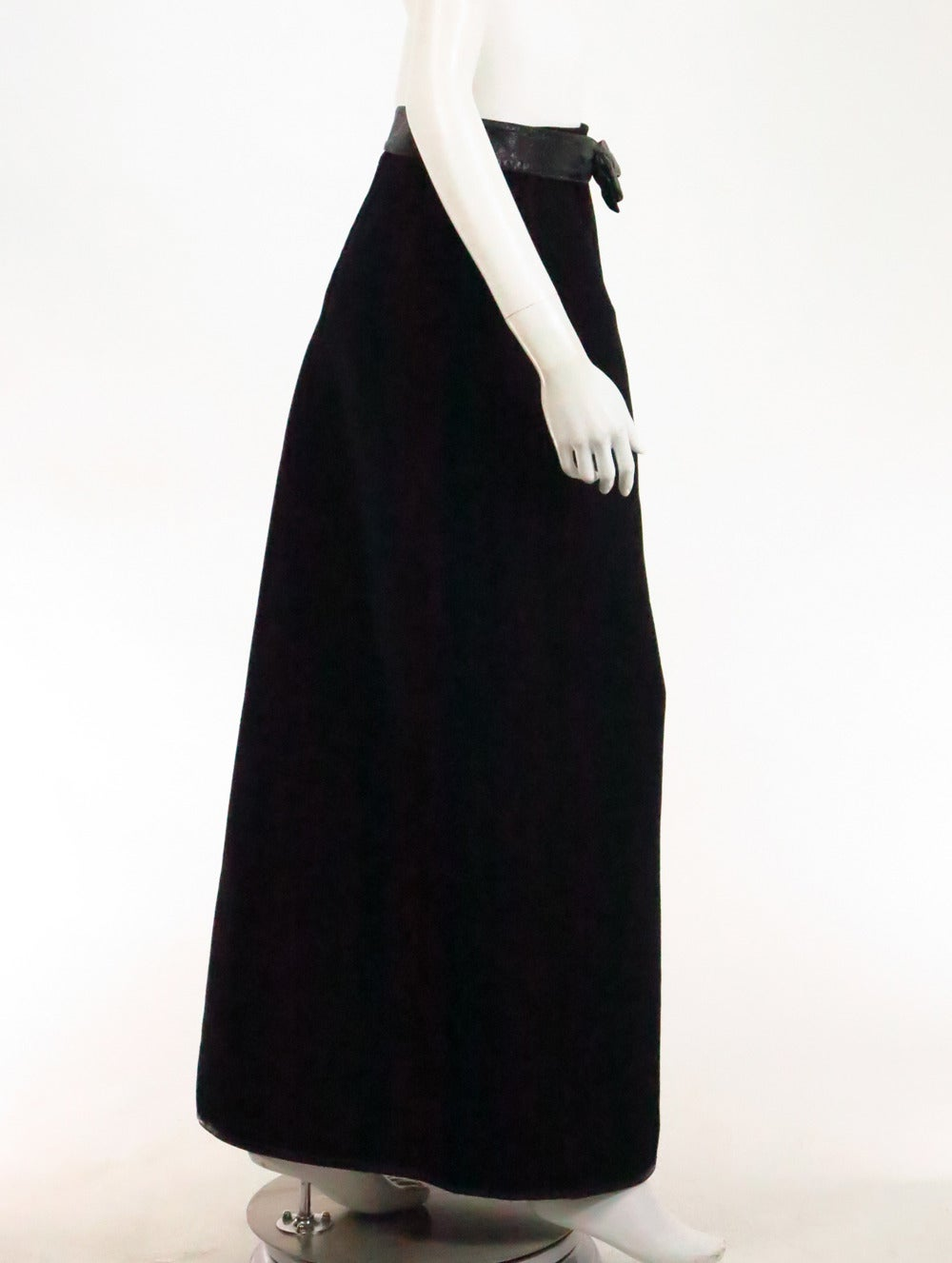 1970s correges couture future black wool and vinyl maxi
