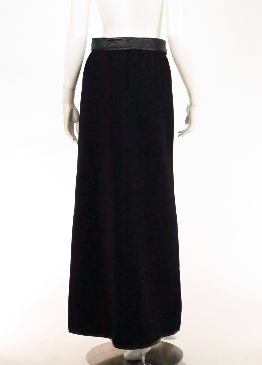 1970s Correges Couture Future black wool & vinyl maxi skirt 5