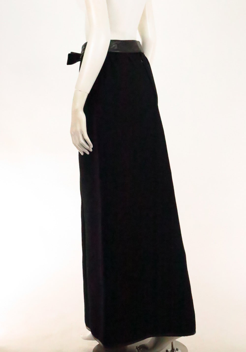 1970s Correges Couture Future black wool & vinyl maxi skirt 6