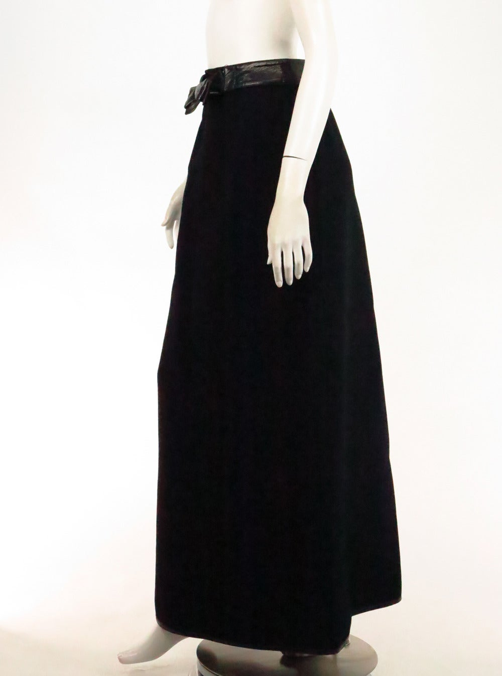 1970s Correges Couture Future black wool & vinyl maxi skirt 7