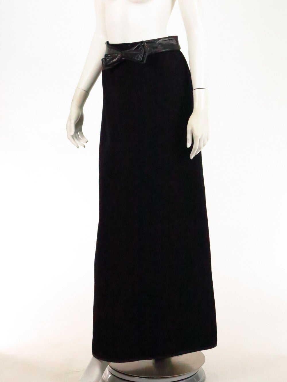 1970s Correges Couture Future black wool & vinyl maxi skirt 8