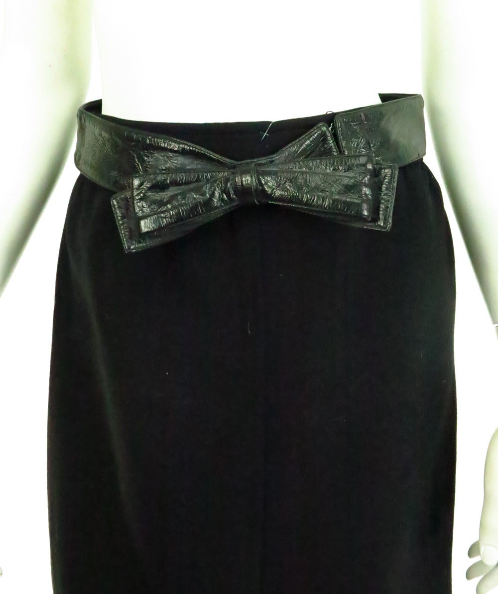 1970s Correges Couture Future black wool & vinyl maxi skirt 9