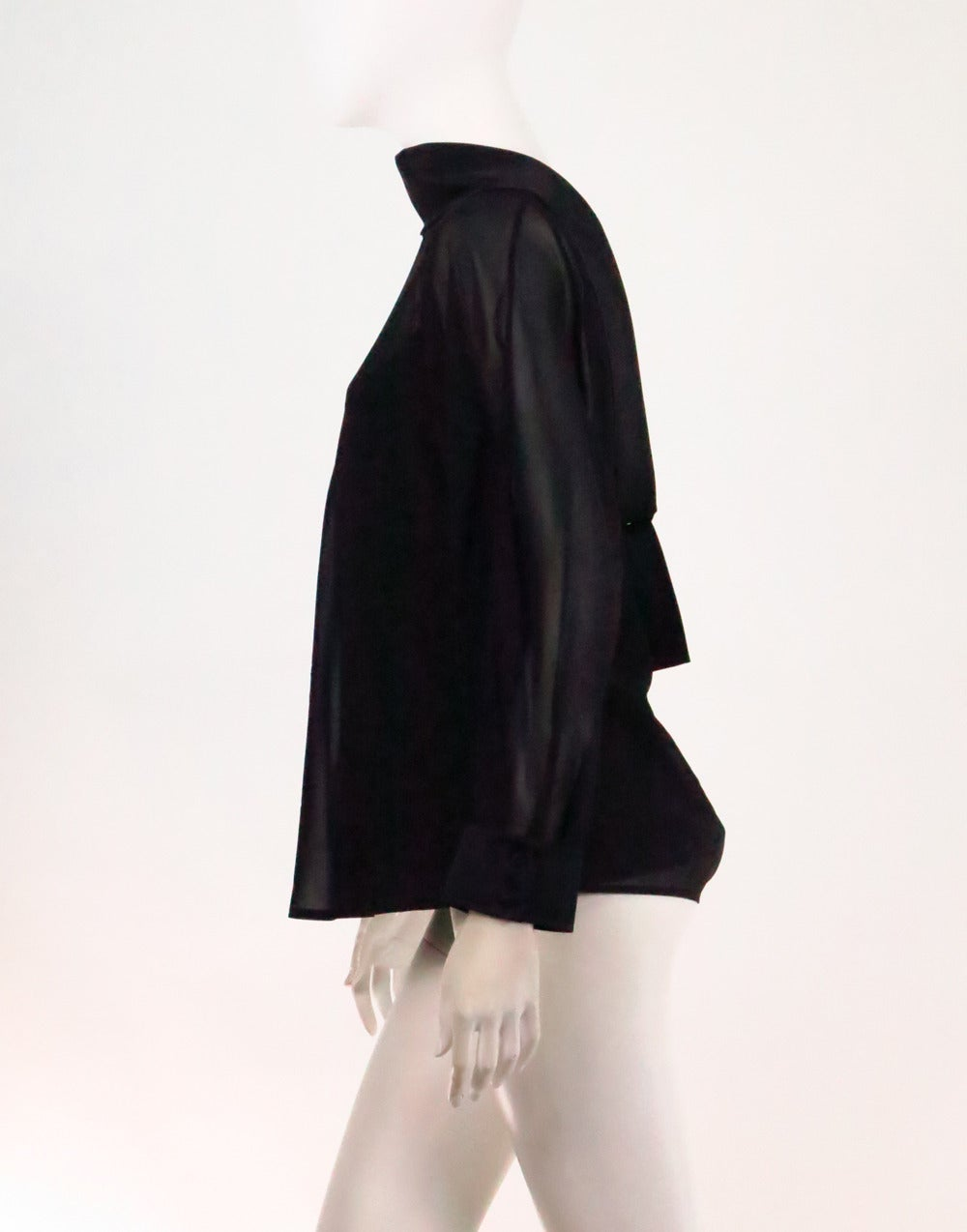 St John Black Silk Chiffon Evening Blouse NWT 10 At 1stdibs