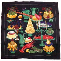 "Hermes  ""Gastronomie,"" silk twill scarf Christiane Vauzelles 35"" X 35"""