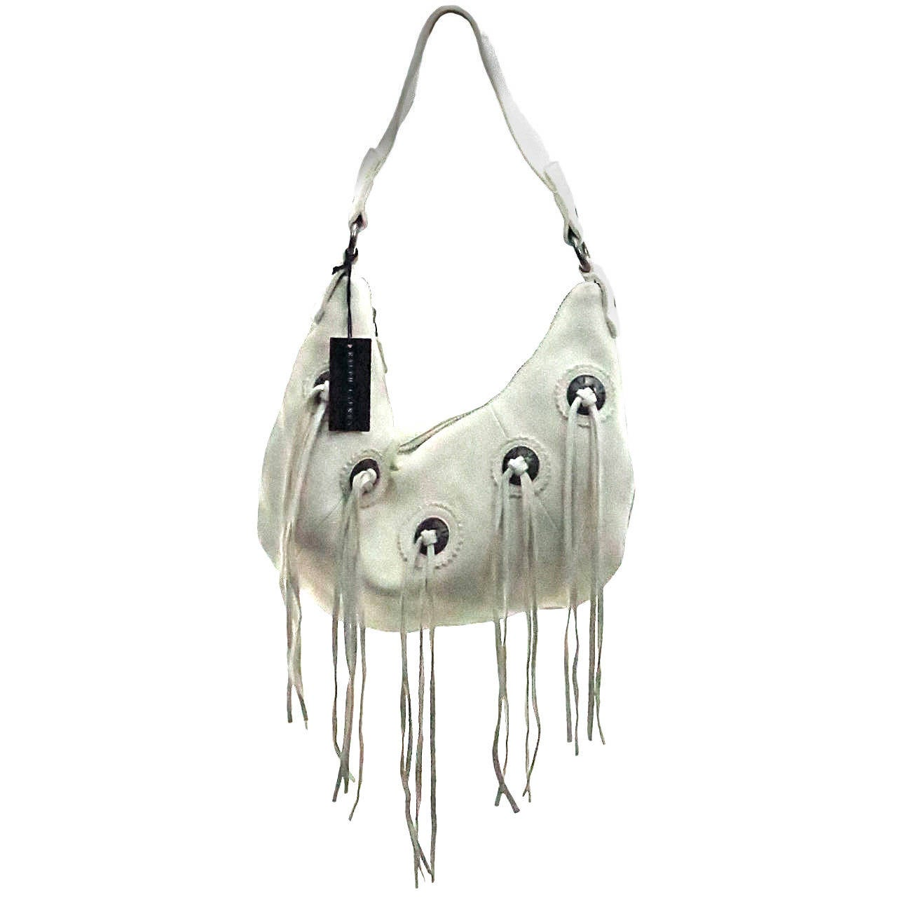 Ralph Lauren soft white leather fringe shoulder handbag NWT