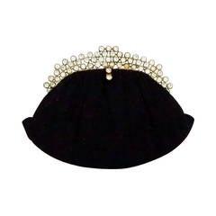 1950s Josef black caviar beaded rhinestone jewel frame evening bag handbag