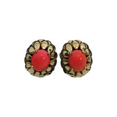 Signed Panetta gold & faux coral clip back earrings