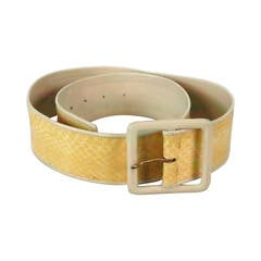 1980s Yves St Laurent wide cream snake skin & leather belt
