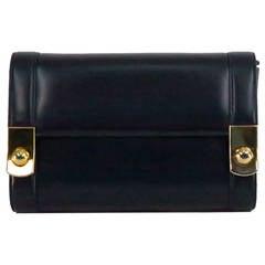 Gucci navy blue box calf gold button flap clutch shoulder handbag
