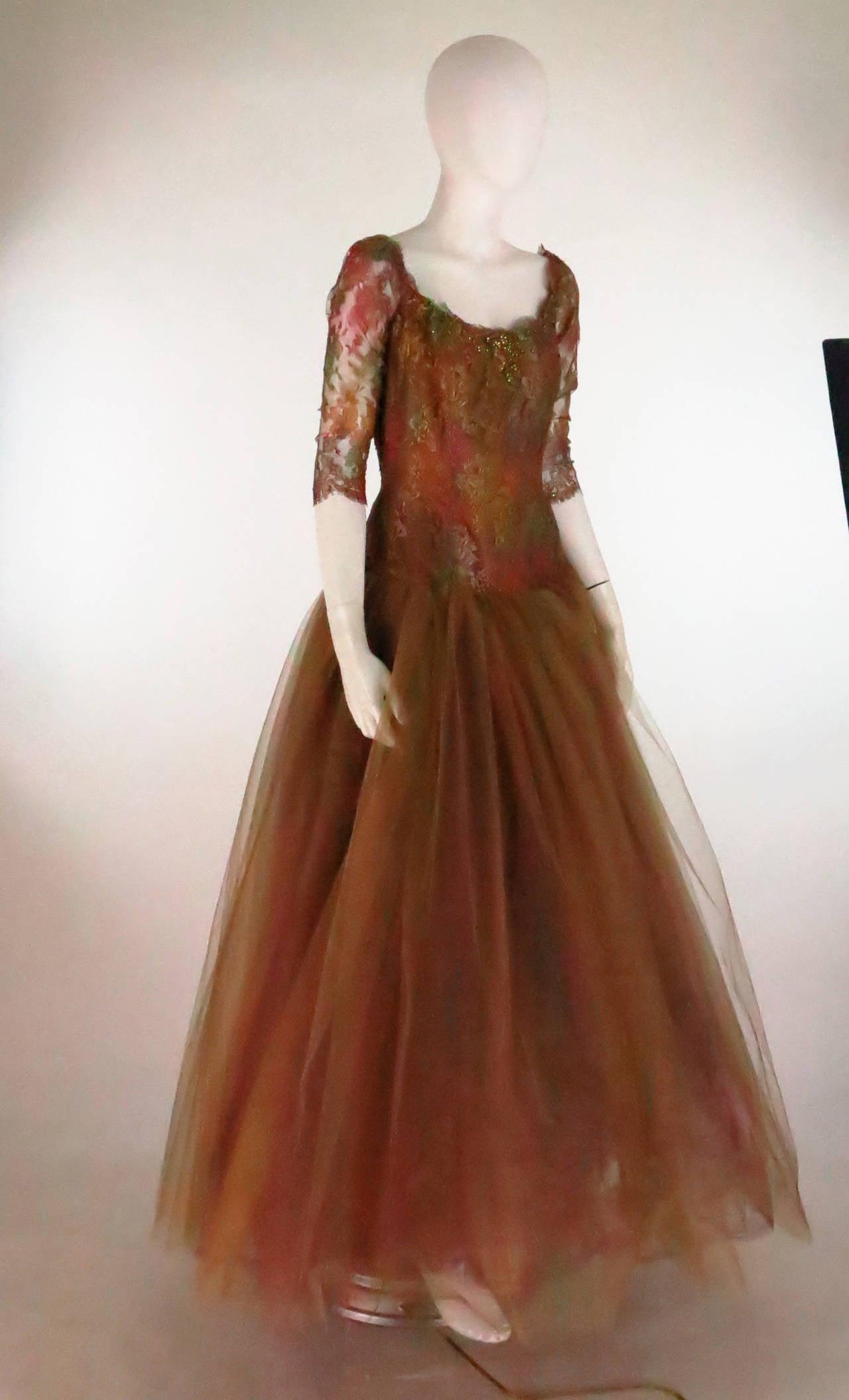 Ivonne de la Vega at Martha Palm Beach ombre lace & tulle gown 2