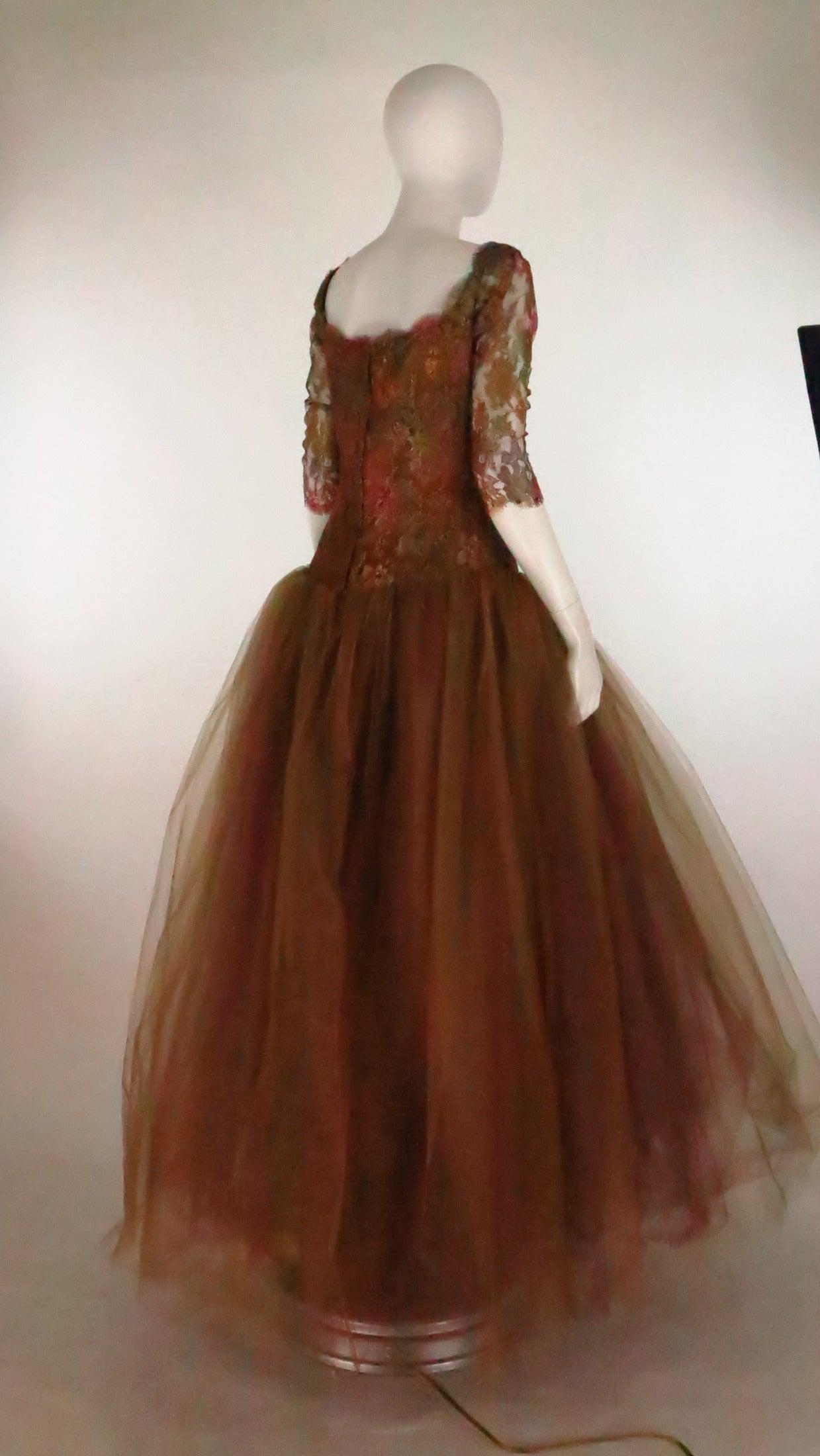 Ivonne de la Vega at Martha Palm Beach ombre lace & tulle gown 3