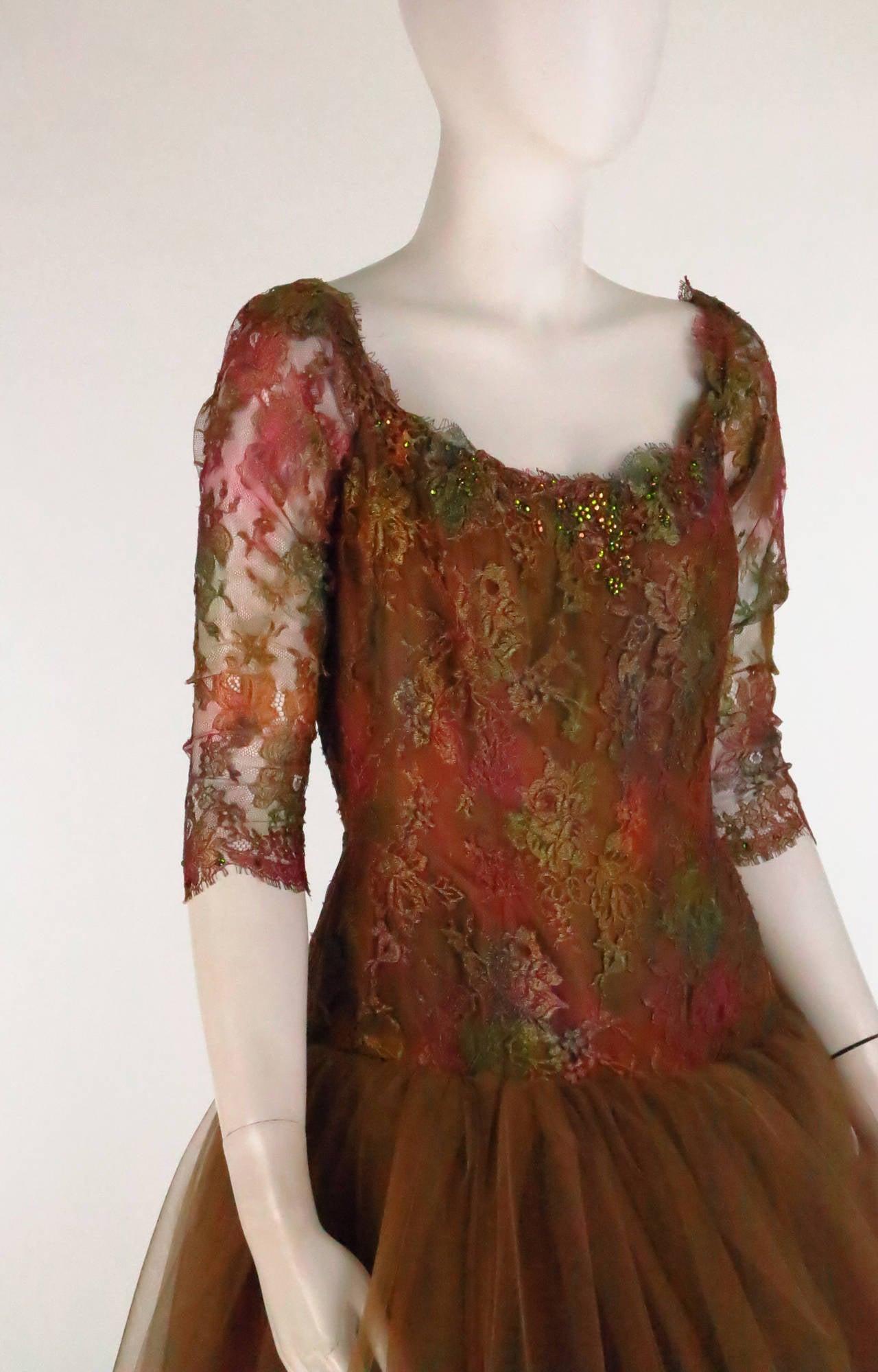 Ivonne de la Vega at Martha Palm Beach ombre lace & tulle gown 6