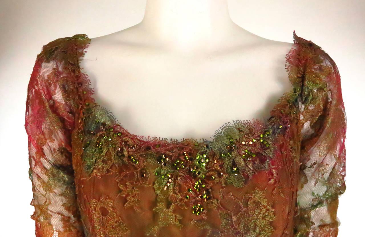 Ivonne de la Vega at Martha Palm Beach ombre lace & tulle gown 8
