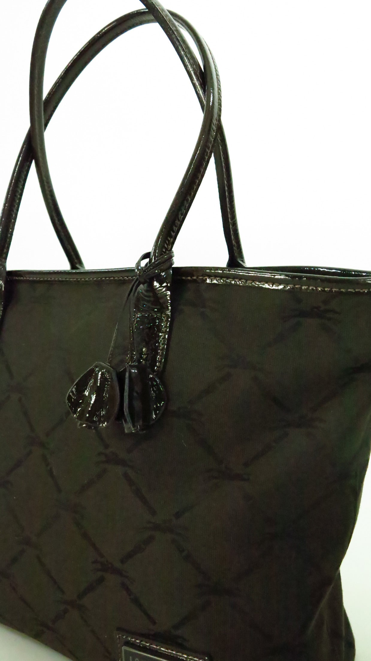 2bcfcebf7527 Longchamp tote bag in chocolate brown patent leatehr and logo fabric ...