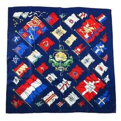 "1960s Hermes ""Pavois"" silk twill scarf  Philippe LeDoux  35"" X 35"""