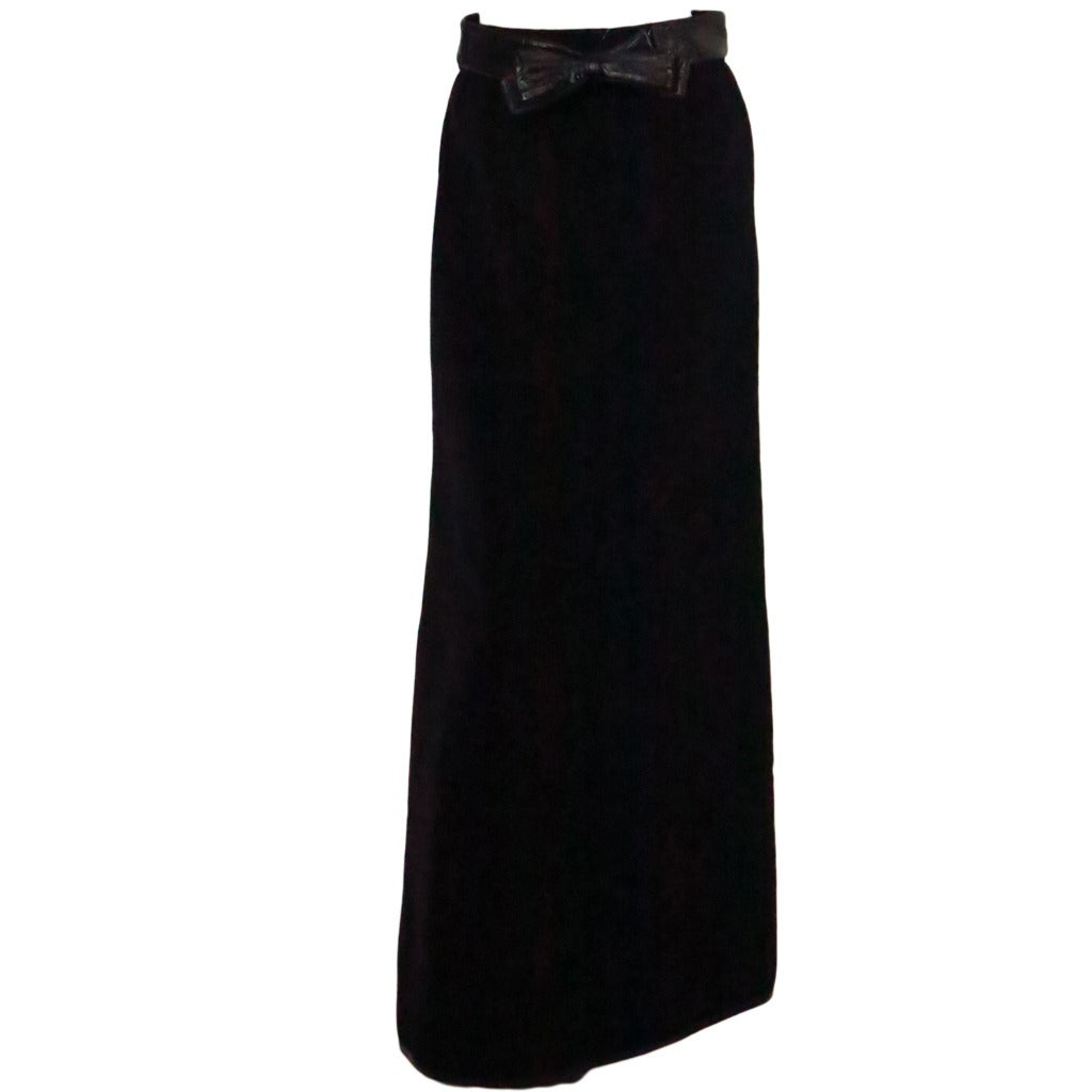 1970s Correges Couture Future black wool & vinyl maxi skirt 1