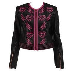 Versace black leather pink laced hearts cropped jacket