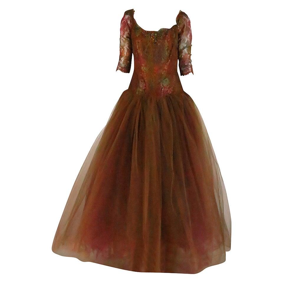 Ivonne de la Vega at Martha Palm Beach ombre lace & tulle gown 1