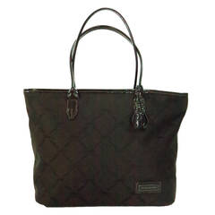 Longchamp tote bag in chocolate brown patent leatehr & logo fabric
