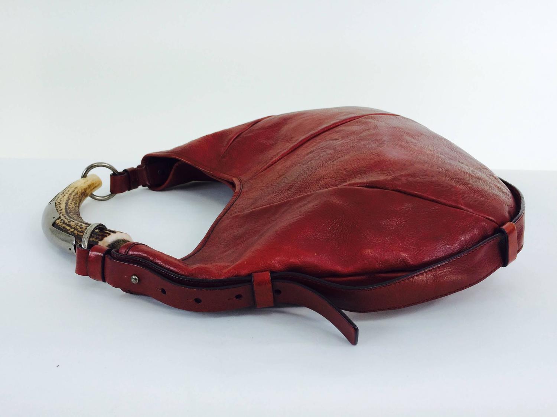 Yves St Laurent Rive Gauche Mombasa horn handle bag in wine ...