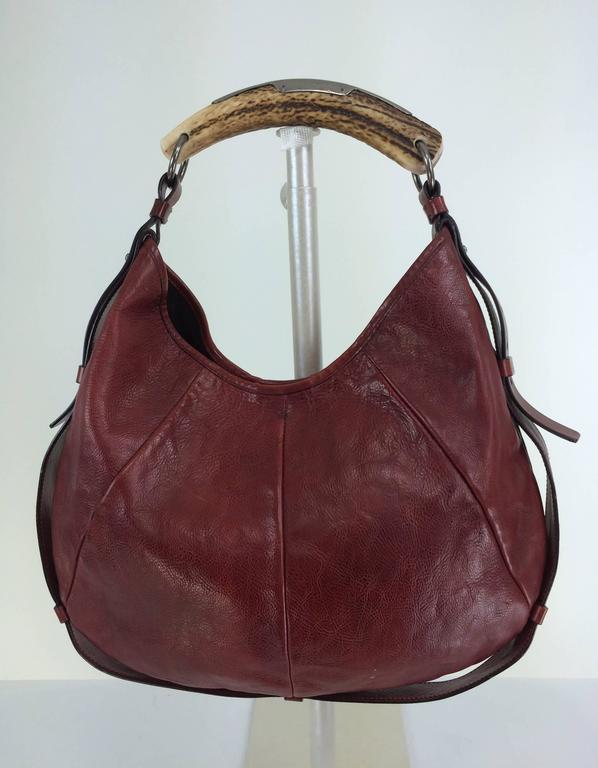 cb2b11e8f9c3 Yves St Laurent Rive Gauche Mombasa horn handle bag in wine leather YSL.