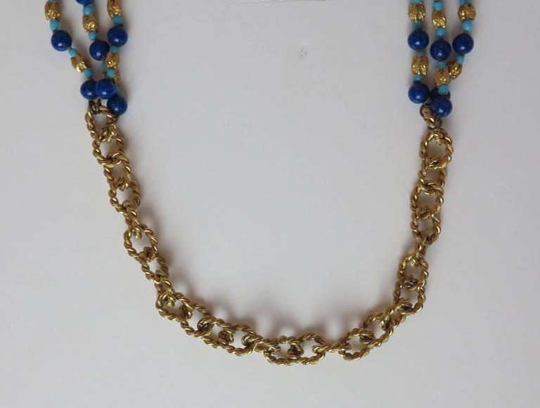 Vintage William Delillo azure blue & gold triple strand necklace 1960s For Sale 1