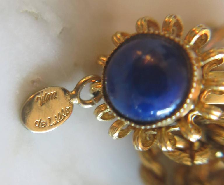 Vintage William Delillo azure blue & gold triple strand necklace 1960s 6