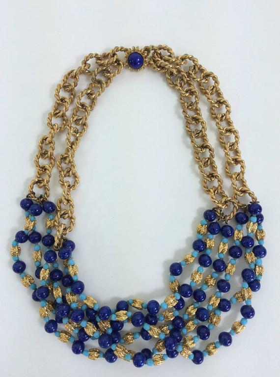 Vintage William Delillo azure blue & gold triple strand necklace 1960s In Excellent Condition For Sale In West Palm Beach, FL