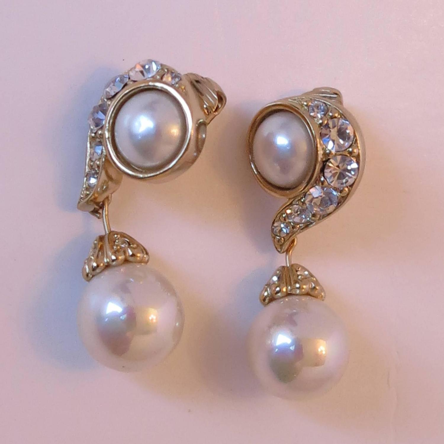 Christian Dior rhinestone and pearl drop clip on earrings ...