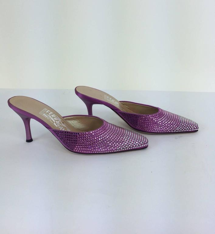 Ferragamo hot pink satin & Swarovski crystal high heeled mules 7 For Sale 1