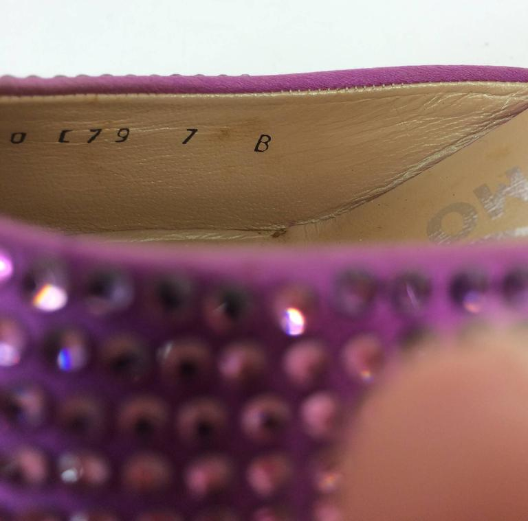 Women's Ferragamo hot pink satin & Swarovski crystal high heeled mules 7 For Sale