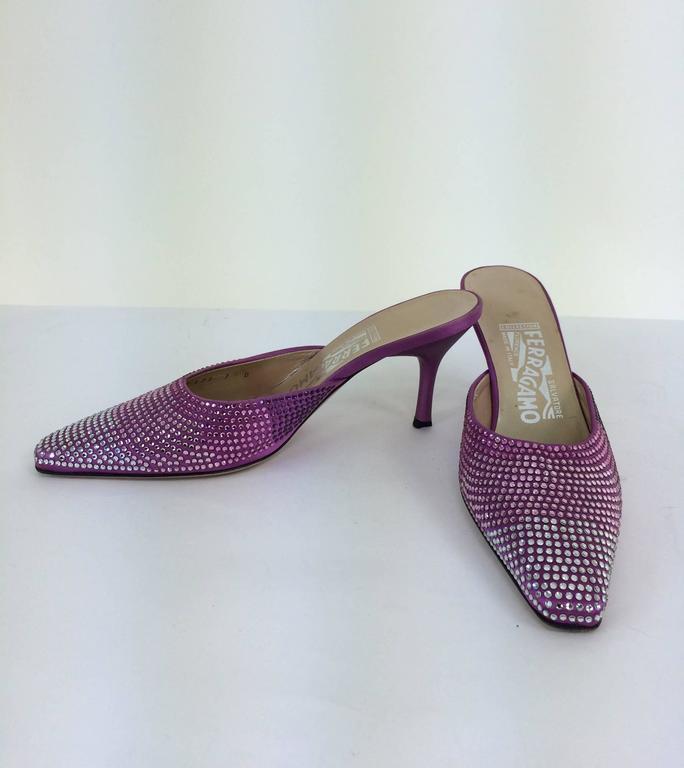 Gray Ferragamo hot pink satin & Swarovski crystal high heeled mules 7 For Sale