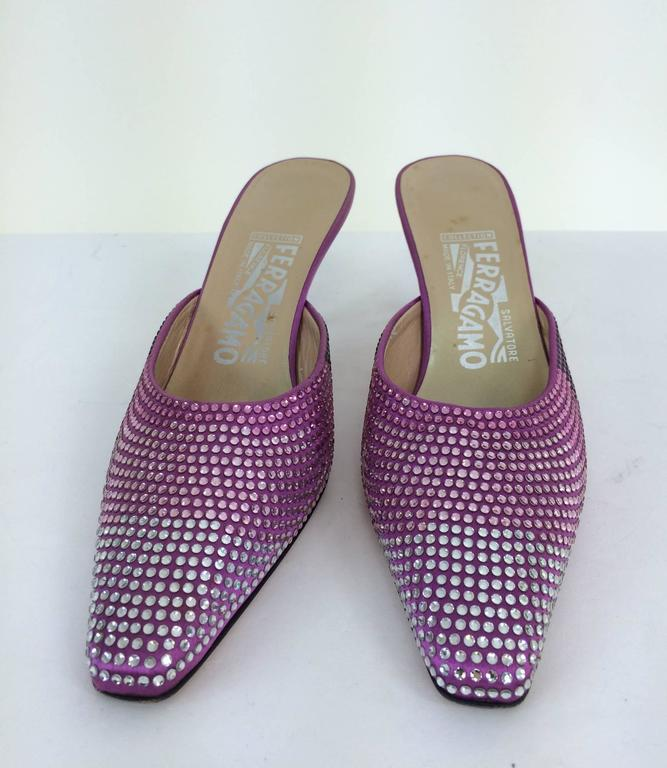 Ferragamo hot pink satin & Swarovski crystal high heeled mules 7...In excellent condition...Size 7 M