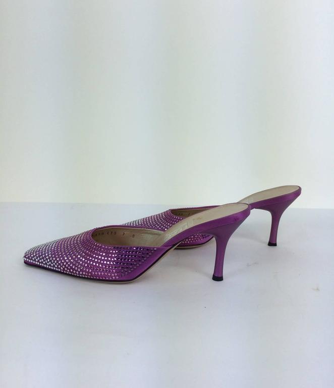 Ferragamo hot pink satin & Swarovski crystal high heeled mules 7 For Sale 2