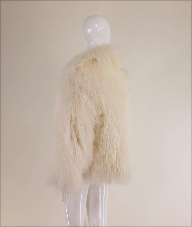 Beige Mongolian lamb fur jacket in white Marvin Richards 1980s Unworn For Sale