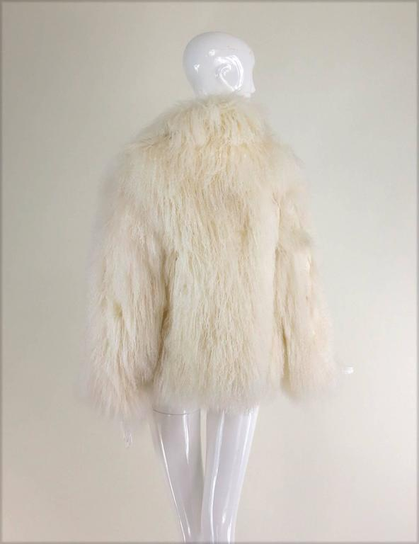 Mongolian lamb fur jacket in white Marvin Richards 1980s Unworn In New Never_worn Condition For Sale In West Palm Beach, FL
