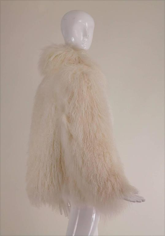 Women's Mongolian lamb fur jacket in white Marvin Richards 1980s Unworn For Sale