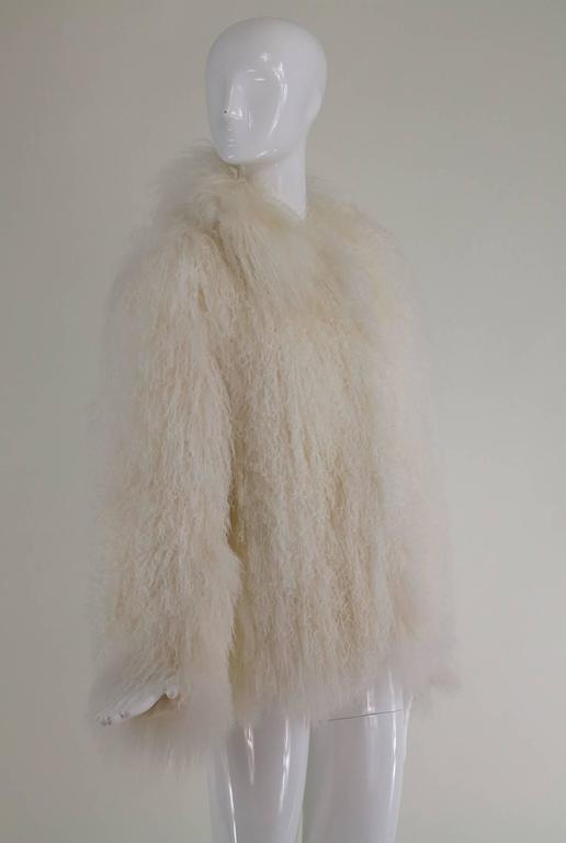 Mongolian lamb fur jacket in white Marvin Richards 1980s Unworn For Sale 1