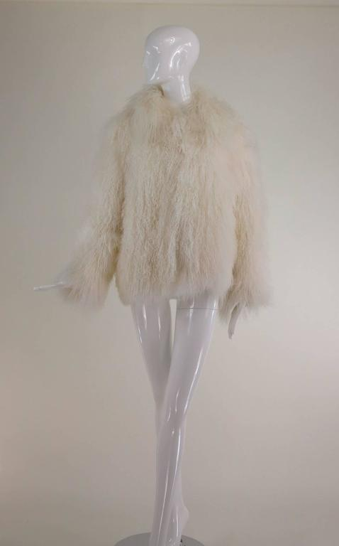 Mongolian lamb fur jacket in white Marvin Richards 1980s Unworn For Sale 2