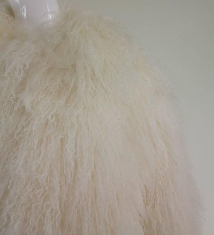 Mongolian lamb fur jacket in white Marvin Richards 1980s Unworn For Sale 4