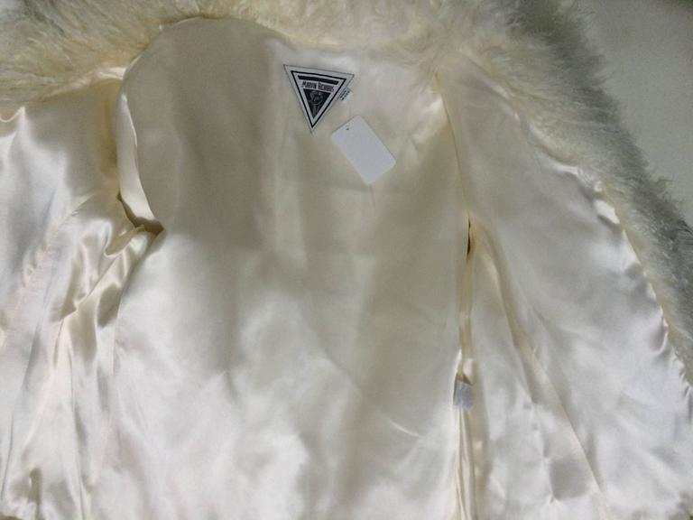 Mongolian lamb fur jacket in white Marvin Richards 1980s Unworn For Sale 5