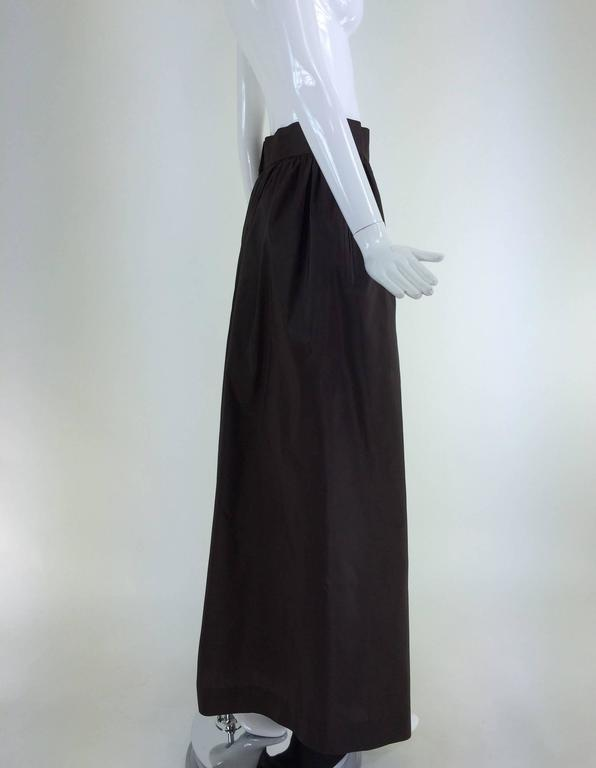 Bill Blass dark chocolate brown silk palazzo pant 1970s In Excellent Condition For Sale In West Palm Beach, FL