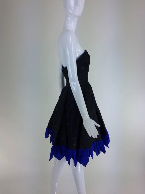 Fabrice black silk taffeta blue zigzag hem strapless cocktail dress 1980s 6
