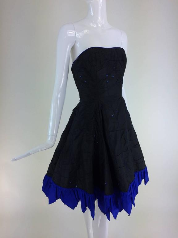 Fabrice black silk taffeta blue zigzag hem strapless cocktail dress 1980s 5